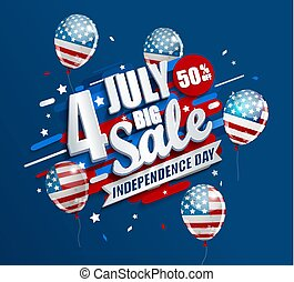 Big Sale banner with balloons for Independence day