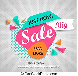 Big sale - banner with halftone background.