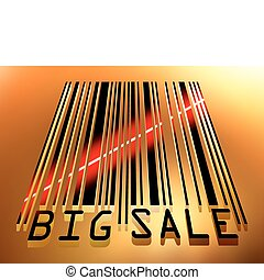 Big Sale bar code concept with laser light. EPS 8