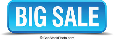 big sale blue 3d realistic square isolated button