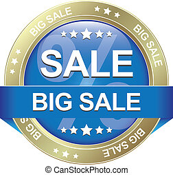 big sale blue gold button isolated