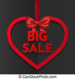 Big sale. Bright holiday heart frame banner hanging with red ribbon and silky bow on dark background. Vector illustration