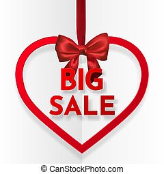 Big sale. Bright holiday heart frame banner hanging with red ribbon and silky bow on white background. Vector illustration