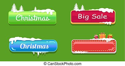 Big Sale Christmas Glossy Web Push Buttons in Snow