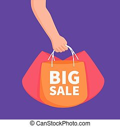 big sale concept with hand holding shopping bags for template banner or advertisement element