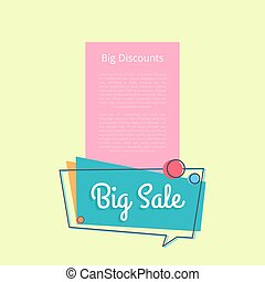 Big Sale Discounts Promotional Banner Text Vector