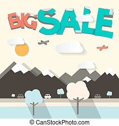 Big Sale Flat Design Vector Illustration with Mountains and Cars on Road