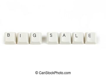 big sale from scattered keyboard keys on white