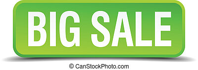 big sale green 3d realistic square isolated button