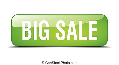 big sale green square 3d realistic isolated web button