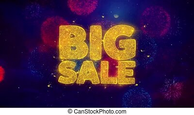 Big Sale Greeting Text Sparkle Particles on Colored Fireworks