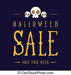 Big sale Halloween on blue background