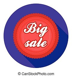Big sale icon in flat style isolated on white background. Label symbol stock vector illustration.