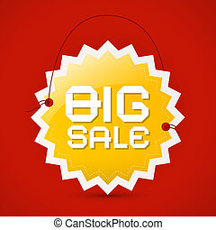 Big sale icon - orange label on red background, vector