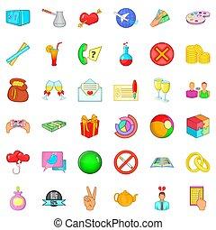Big sale icons set, cartoon style