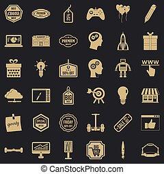 Big sale icons set, simple style