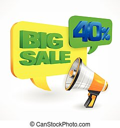 Big sale inscription. Megaphone
