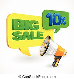Big sale inscription megaphone