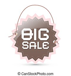 Big sale label - brown and pink retro tag with string on white background, vector