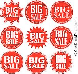 Big sale label set, big sale sticker set, vector illustration