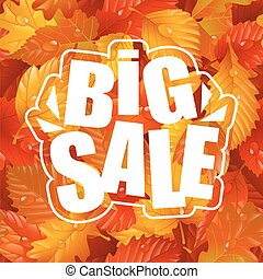 Big Sale Lettering and Autumn Seamless Pattern