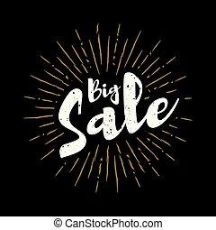 Big sale lettering with sunbursts vector background