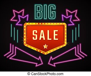 Promo banner with big sale announcement. Neon sign with stars and arrows. Discounts and special offers for clients, promotion on black friday or christmas. Fluorescent light. Vector in flat style