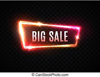 Big Sale neon text vector illustration. Glowing frame element design template on transparent background. Electric discount light banner. Colorful modern shining night border. Advertising bright sign.