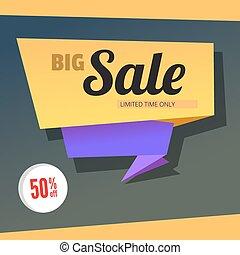 Big sale origami banner.