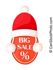 Big Sale Oval Tag with Percent Sign and Santa Hat