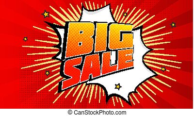 Big sale pop art splash background, explosion in comics book style. Advertising signboard, price reduction, sale with halftone dots, cloud beams light on red backdrop. Vector for ad, covers, posters