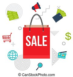 Big sale poster with shopping bag