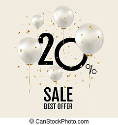 Big Sale Poster With White Balloons