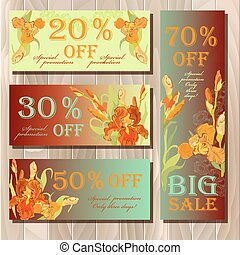 Big sale printable card template with red iris flower design.