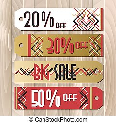 Big sale printable card template with golden snowflakes design.
