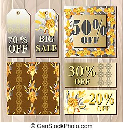 Big sale printable card template with iris flowers