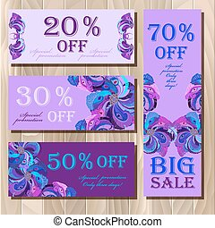 Big sale printable card template with peacock feathers design.