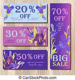 Big sale printable card template with purple iris flower design.