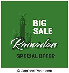 Big Sale Ramadan Kareem Special Offer Green background