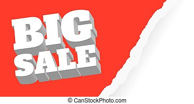 big sale. Red background and with a discount, vector illustration