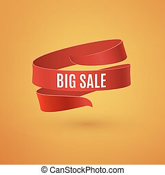 Big sale. Red ribbon on orange background.