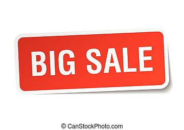 big sale red square sticker isolated on white