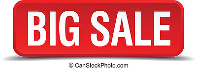 big sale red three-dimensional square button isolated on white background