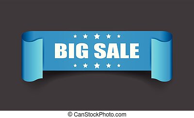 Big sale ribbon vector icon. Discount sticker label on black background.