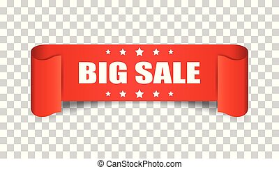 Big sale ribbon vector icon. Discount sticker label on isolated background.