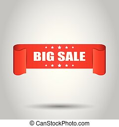 Big sale ribbon vector icon. Discount sticker label on white background.