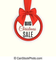 Big sale, round banner with red ribbon and bow, isolated on white background. Vector illustration.
