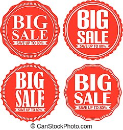 Big sale save up to 80% red label set, vector illustration