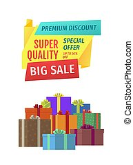 Big Sale Sellout Promo Poster with Present Boxes