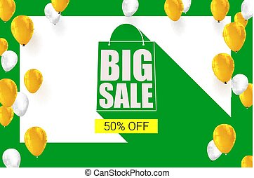 Big sale shopping bag silhouette with long shadow. Selling banner, discount fifty percent on a yellow button backdrop with white and yellow flying inflatable balloons. Horizontal green background